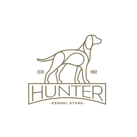 Pointer dog linear  design template. Vector illustration. Vettoriali