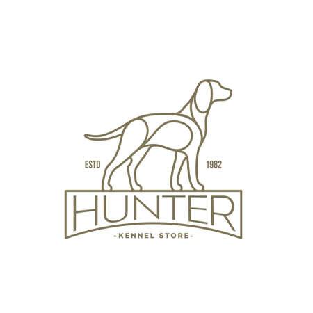 Pointer dog linear  design template. Vector illustration. Illustration