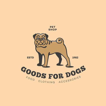 Pug dog  design template. Vector illustration.
