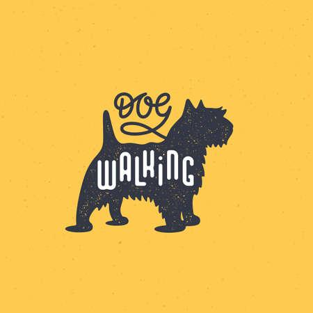 Lettering Dog walking on terrier silhouette with stamp effect for  label, badge, emblem design. Vector illustration.