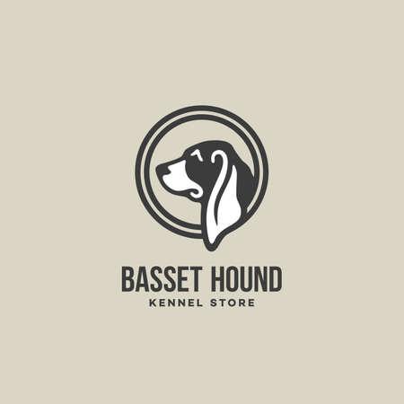 Basset hound head  design template. Vector illustration. 向量圖像