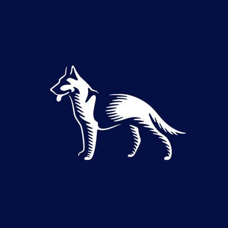 Sheepdog design template on dark background for  emblem, badge. Vector illustration.