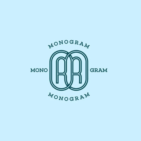 Monogram two letters R in linear style. Vector illustration. 向量圖像