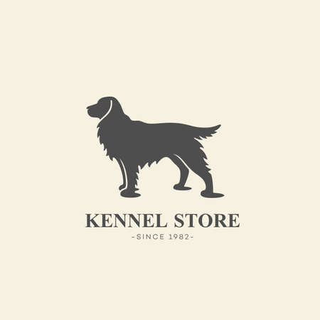 Simple cocker spaniel dog  design template. Vector illustration.