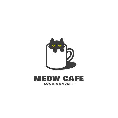 Funny cat cafe  design template. Vector illustration. 向量圖像