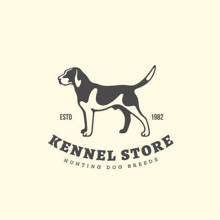 Foxhound dog logo design template. Vector illustration.