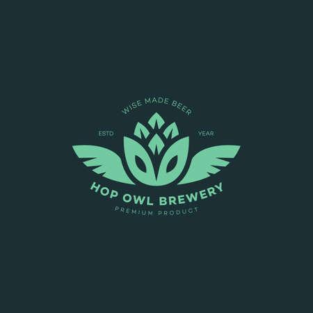 Hop owl logo design template. Vector illustration. Illustration