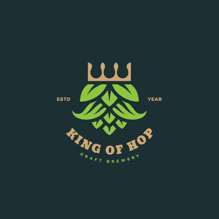 King of hops  design template. Vector illustration.