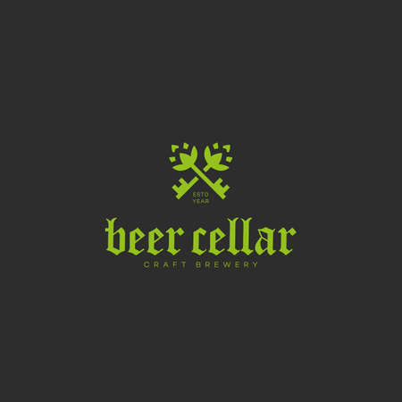 Beer cellar design template with two keys. Vector illustration.