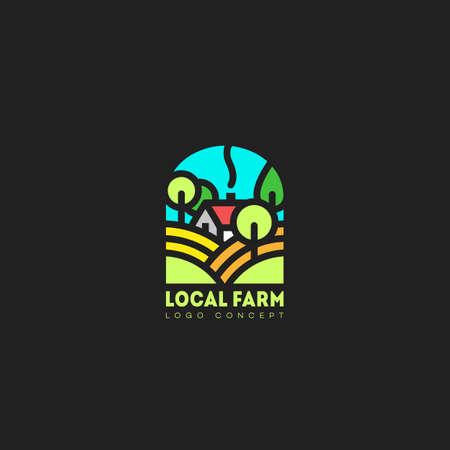 Colored local farm  design template. Vector illustration.
