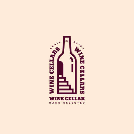 Wine cellar  design template in linear style. Vector illustration.