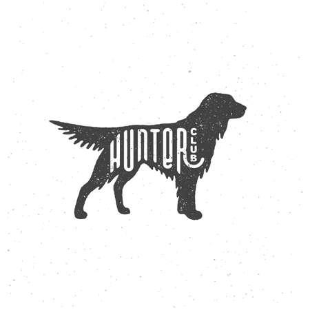 Lettering Hunter club on setter silhouette with stamp effect for label, badge, emblem design. Vector illustration.