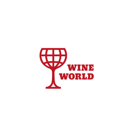 Wine world design template in linear style. Vector illustration.
