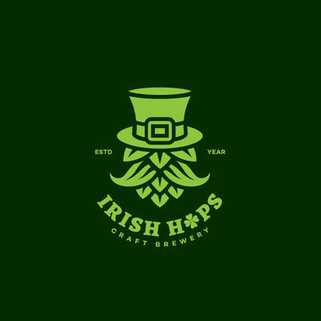 Irish hops design template on dark background. Vector illustration. Illustration