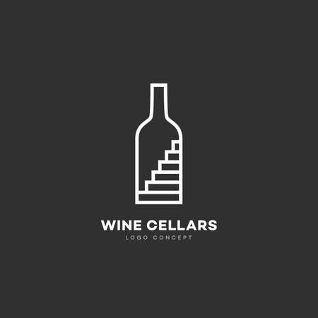 Wine cellars logo design template with bottle and stairs in linear style. Vector illustration. Illustration