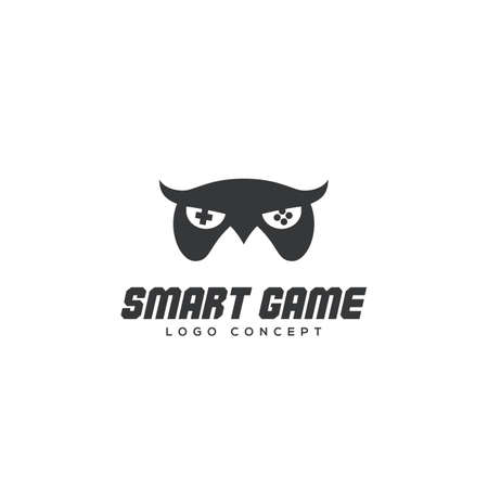 Smart game logo design template with owl. Vector illustration.