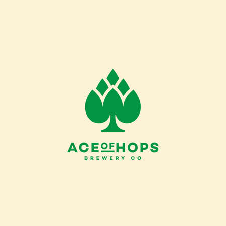 Ace of hops logo design template. Vector illustration.