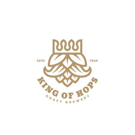 King of hops logo design template in linear style. Vector illustration.