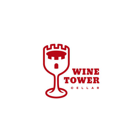 Wine tower logo design template. Vector illustration.