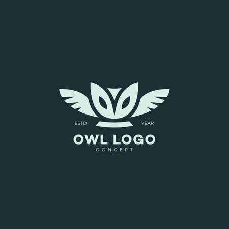 Barn owl logo design template on dark background. Vector illustration. Illustration