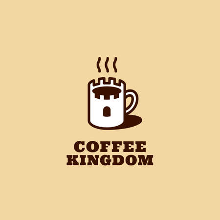 Coffee kingdom  design template with stylized mug. Vector illustration. Illustration