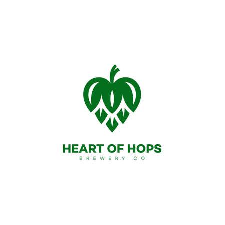 Heart of hops  design template. Vector illustration.