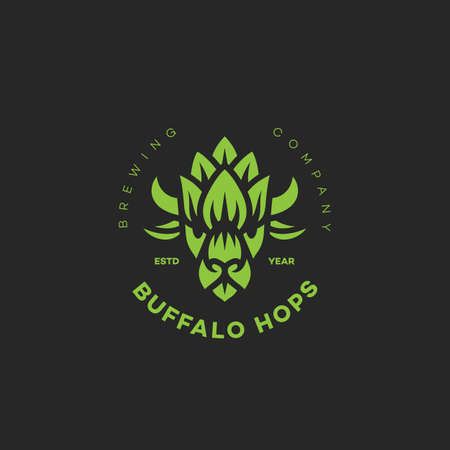 Buffalo hops logo design template on dark background. Vector illustration.
