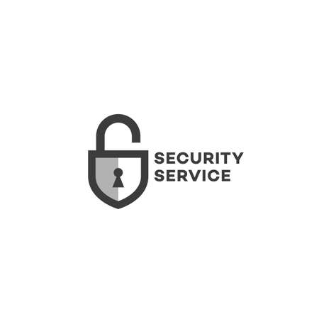 Security service logo design template with lock and shield. Vector illustration.