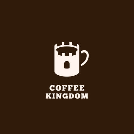 Coffee kingdom logo design template with stylized mug on dark background. Vector illustration.
