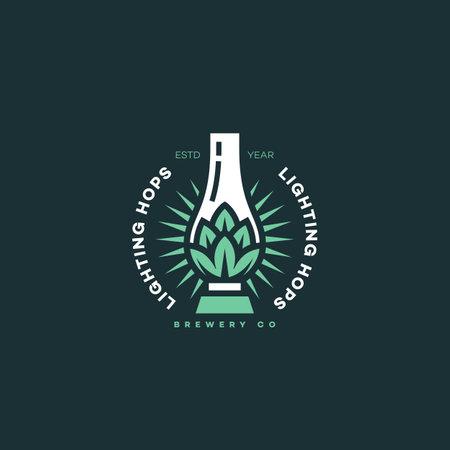 Lighting hops logo design template. Vector illustration. Illustration