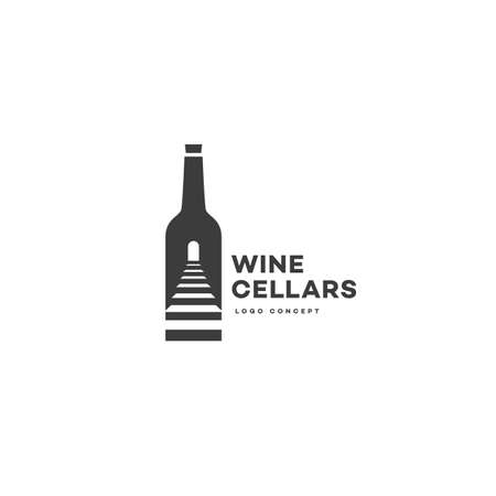 Wine cellars logo design template with bottle and stairs. Vector illustration.