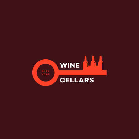 Wine cellars logo design template with stylized key and bottles. Vector illustration. Illustration