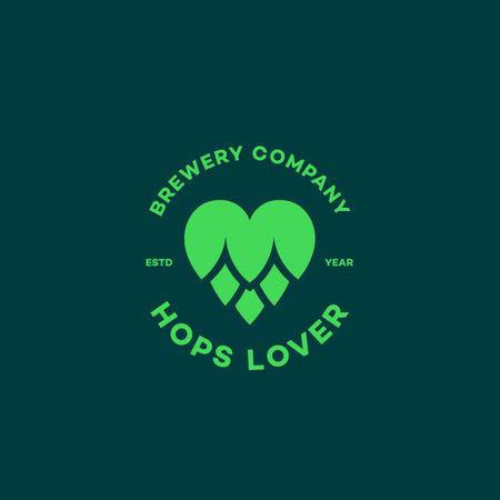 Hops lover logo design template. Vector illustration.