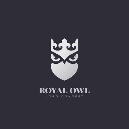 Silver royal owl logo design template. Vector illustration. Illustration