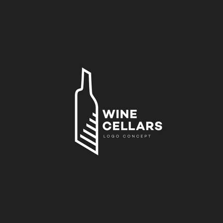 Wine cellars logo design template with contour of bottle and stairs in linear style. Vector illustration. Illustration