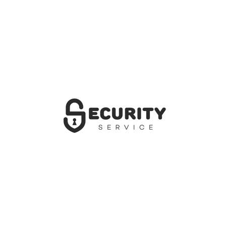 Security service logo design template with stylized letter S as lock. Vector illustration. Illustration