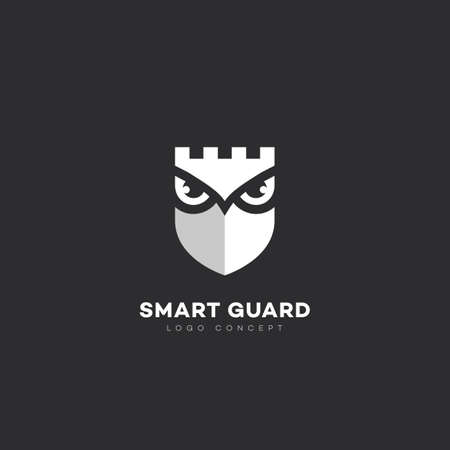 Smart guard logo design template with owl and shield. Vector illustration.