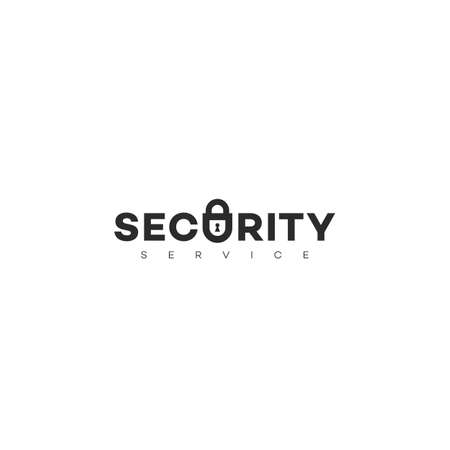 Security service logo design template with stylized letter U as lock. Vector illustration.