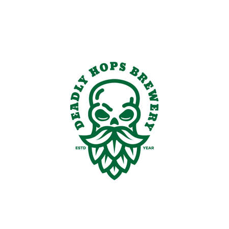 Deadly hops brewery logo design template with bearded skull in linear style. Vector illustration.