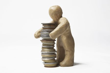 earns: The plasticine person earns money in the various ways
