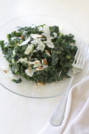 A Tuscan kale salad with parmesean cheese and almonds. Banco de Imagens - 19414347