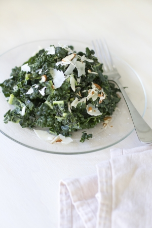 A Tuscan kale salad with parmesean cheese and almonds. Banco de Imagens - 19414340