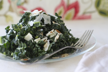 A Tuscan kale salad with parmesean cheese and almonds. Banco de Imagens - 19414421