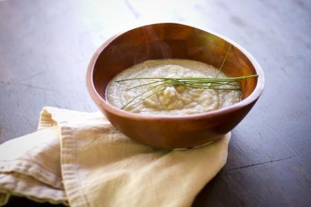 A cumin infused vegetarian cauliflower puree in a bowl. Stock fotó