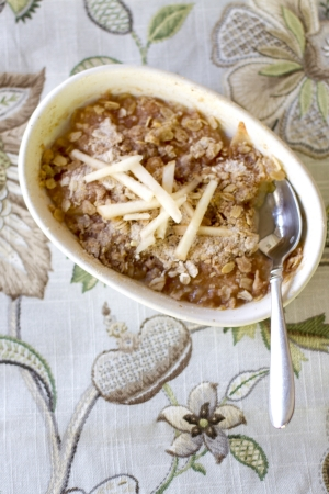 Baked pear crumble with a sugar, oat topping.
