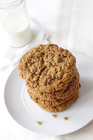 Oatmeal raisin cookie tower made with applesauce. photo