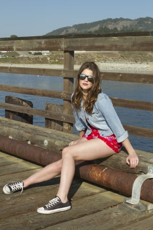 An attractive young brunette sitting on a pier.