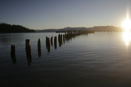 A view of Lake Tahoe, California at sunset during the winter.