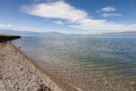 sierra: Landscape scenery view of Sayram Lake in Xinjiang, China Stock Photo