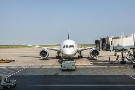 상하이 공항에서 보잉 787